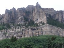 Igneous breccia-like rock on the East Fork Cimarron River in Colorado's Uncompahgre National Forest
