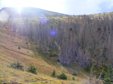 Late sun pouring over Halfmoon Pass