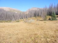 A look up at the unnamed pass between Twin Peaks and South Saguache Creeks