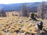 Leah and my pack, on the pass above South Saguache Creek