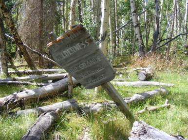 The old wilderness boundary prior to expansion? At least, this sign is quite a ways from where the official wilderness boundary is shown on maps - South Fork Saguache Trail No. 781 Rio Grande National Forest