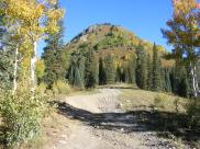 The Poverty Gulch Road, leading up just above Slate River, Poverty gulch to the left