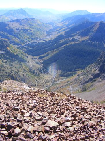 From Mineral Point, looking down into Poverty Gulch immediately, then Slate River's glaciated valley beyond