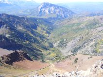 From the Ruby Range, looking down into Middle Anthracite Creek, Marcellina Mountain prominent