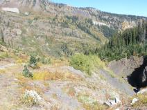 Baxter Basin, looking down into Poverty Gulch