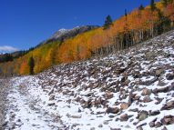 Hiking on the old Denver, South Park and Pacific Railroad grade on a fine Autumn day