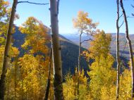 Looking down at the Slate River, from the Farris Creek Trail No. 409, a fine day in Autumn