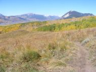 Looking north from the new trail, Mount Emmons on the left and Mount Crested Butte on the right