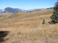 A view of Mount Crested Butte and the Elk Mountains, below Point 10958, on the western meadows