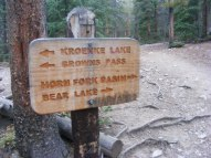 At the junction of the Horn Basin Trail No. 1449 and Kroenke Lake Trail No. 1448