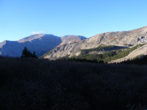 Sunrise in the Horn Fork Basin, looking south at Mount Yale
