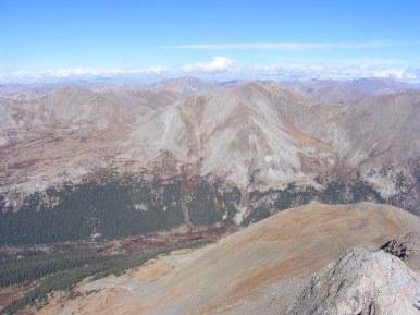 From Mount Harvard, looking across Pine Creek, northward, Mount Belford front and center