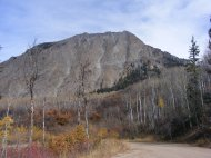 Looking up above Gunnison County Road 12 at the south face of Marcelina Mountain