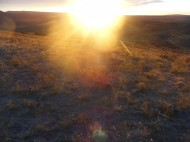 Sunburst over sagebrush steppe, in Moffat County north of Fan Rock