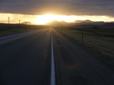 Sunrise on Wyoming 70, east of Baggs