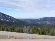 A pullout along Wyoming 70, looking south along the Sierra Madre and the Great Divide