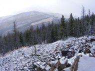 Arrow Mountain, shrouded in snowy clouds