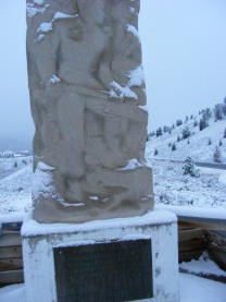 A monument to tie cutters and lumbermen near Dubois, Wyoming, on U.S. 26-287