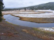 The Gibbon River just above its confluence with the Firehole River; they together form the nascent Madison River