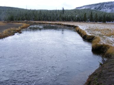 The Gibbon River under National Park Mountain in Yellowstone National Park