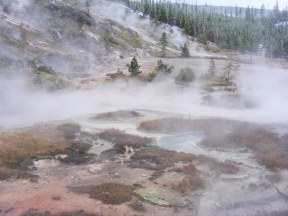 Steams and mists over Artist's Paintpots on a blustery day in Yellowstone National Park