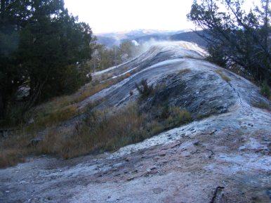 Narrow Gauge Terrace seen from the west side trail, in Upper Mammoth Terraces