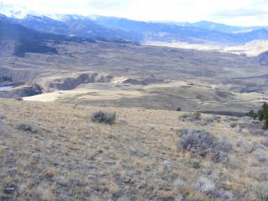 Hiking down from Mount Everts, McMinn Bench to the left