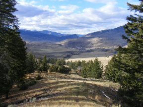 Hiking down the north side of Mount Everts, the town of Gardiner, Montana, seen below
