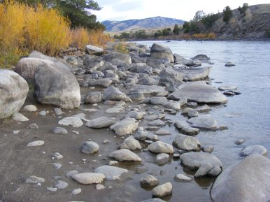 Low autumnal water on the Yellowstone River at the McConnell Fishing Access north of Gardiner, Montana