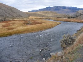 Looking north on the Gardner River in Yellowstone National Park, between Eagle Nest Rock and the Boiling River
