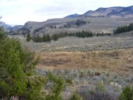In the vicinity of the confluence of the Yellowstone and Lamar Rivers, looking towards Hellroaring Mountain