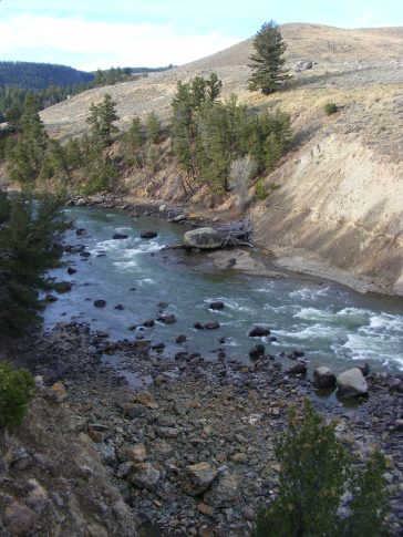 The Yellowstone River, below the Northeast Entrance Road bridge