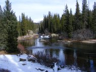 The Clark's Fork River in Montana on the Gallatin National Forest, near the trailhead for Russell Creek Trail No. 3