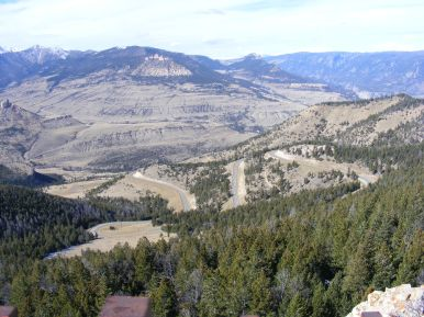 From Dead Indian Pass, looking west onto Wyoming 296, also known as the Chief Joseph Highway