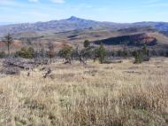The eastern slopes of Dead Indian Pass in Wyoming, Heart Mountain on the horizion