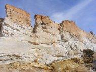 Multi-hued sandstone fin in Castle Gardens