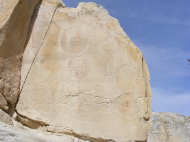 Petroglyph panel on sandstone in Castle Garden