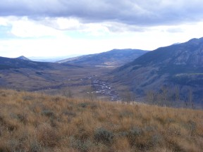 The East River winding slowly down below Mount Crested Butte