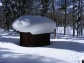 Snow covered structure in Quartz Campground
