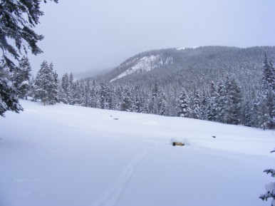 Approaching the Gold Creek Campground, low clouds obscuring Broncho Mountain up Lamphier Creek