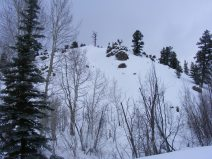 Snow covered hillside above Willow Creek, lone snag sentinel overlooking granite outcroppings