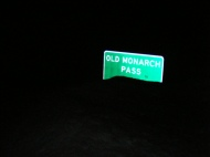 The highway sign along U.S. 50 for the road to Old Monarch Pass