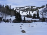 The end of Gunnison National Forest Road 780 in Winter