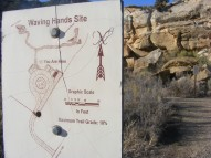 Signage for the Waving Hands Site, part of the Canyon Pintado National Historic District