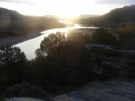A view of the Yampa River in early sunlight, from Disappointment Draw