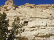A cliff of white sandstone