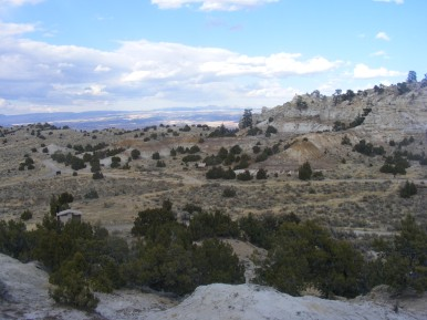 A view over the Castle Gardens picnic area towards the Bighorn Mountains