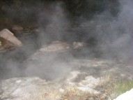 Smoking waters emitting from a spring