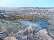 The hot spring at Thermopolis at dawn, Bighorn River flowing by