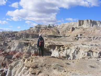 Studying the sculptures of Gooseberry Creek Badlands
